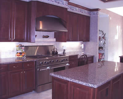 Private Residence, Raleigh. Violetta granite was used for the counters in this kitchen and creates a rich, elegant feeling. The highlights in the Violetta are burgundy/cranberry.